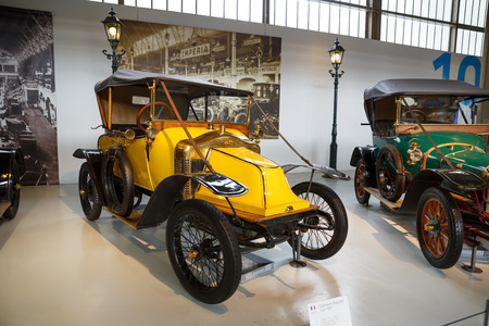 Brussels, Belgium - August 25, 2015 - Autoworld Museum, old cars collection showing the history of automobiles from the beginnings.