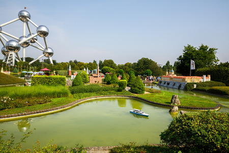 Brussels, Belgium-August 13, 2015-Atomium and miniature park Mini-Europe.