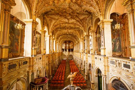 HILLEROD, DENMARK-August 20, 2017- Renaissance Frederiksborg Castle (Frederiksborg Slot, XVII century) church interior. Редакционное