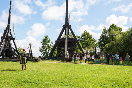 Sundby Lolland, Denmark - August 21, 2017 - The medieval trebuchet in The Middle Ages Center, the experimental living history museum.