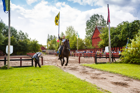 Sundby Lolland, Denmark - August 21, 2017 - The medieval knights tournament in The Middle Ages Center, the experimental living history museum.