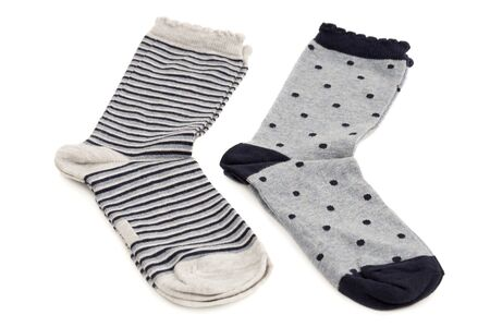 Two pairs of socks isolated on white background.