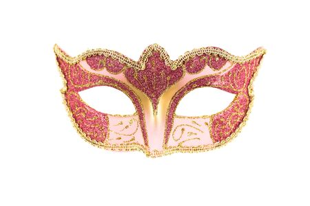 Carnival mask with pink and purple ornament isolated on a white background. Foto de archivo