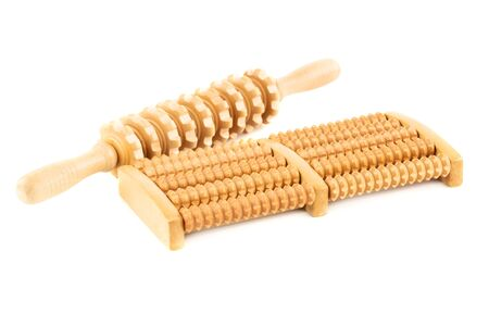Wooden roller massagers isolated on white background. Zdjęcie Seryjne