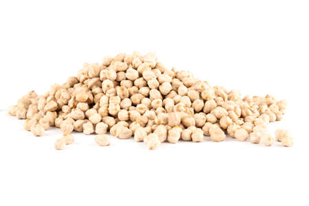 The heap of chickpeas isolated on white background.
