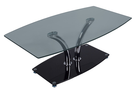 table with a glass table-top on a white background