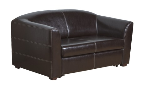 the sofa is leather brown