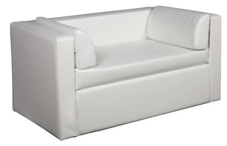 White leather sofa on a white background Stock Photo