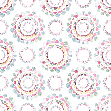 Hand painted watercolor medallion ornamental allover seamless pattern Archivio Fotografico