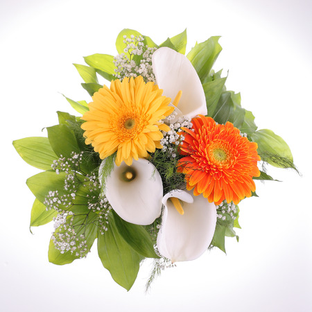 Bright bouquet. Calla and Gerbera flowers. photo
