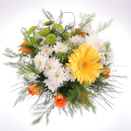 Bright bouquet, close-up. Daisy and Gerbera flowers photo