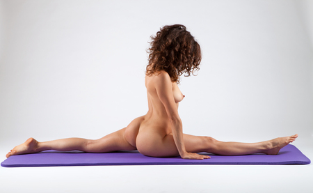 nude sport: Sexy nude woman doing yoga exercises