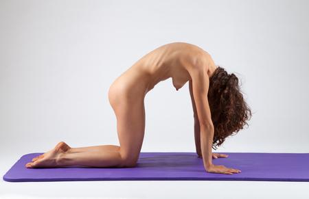 nude babe: Sexy nude woman doing yoga exercises