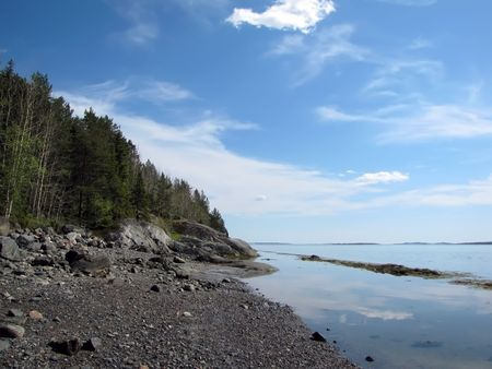 White sea coast                                        photo