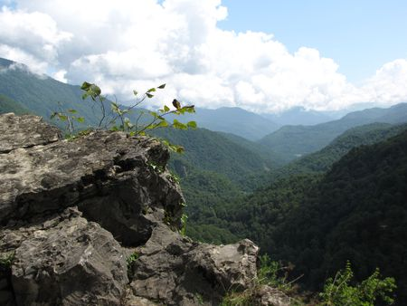smoky mountains: Caucasus mountains on a sunny summer day near Sochi, Russia
