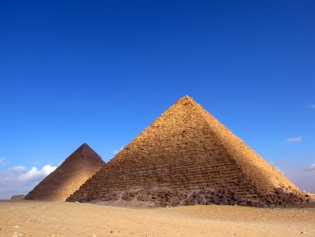 the great outdoors: Two pyramid in Giza (Egypt)
