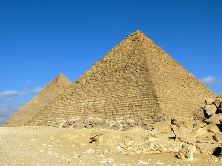 Two pyramid in Giza (Egypt). Pyramid of Khafre (or Chephren) and Pyramid of Menkaure