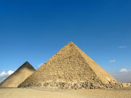 chephren: Pyramid of Khafre (or Chephren) and Pyramid of Menkaure                                Stock Photo