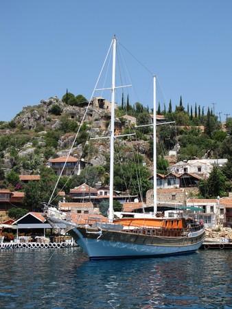 The yacht anchored in Kekova, Turkey