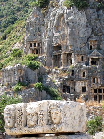 Lycian tombs in Demre, Turkey
