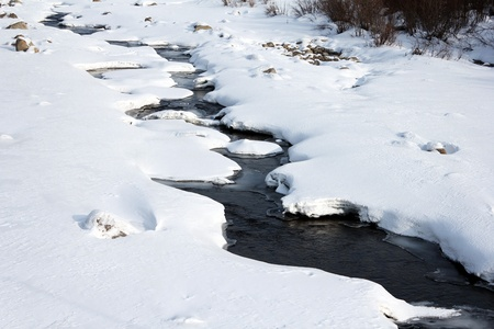 Melting of ice on the river in spring