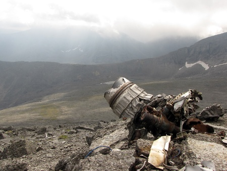 remains: The remains of the aircraft after the crash                                 Stock Photo