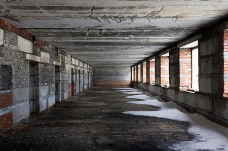 abandoned room: Empty dirty room Stock Photo