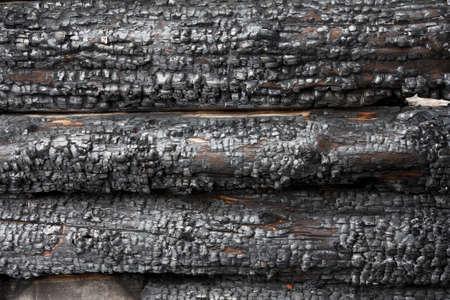 Black charcoal of burnt log wall Stock Photo - 9533748
