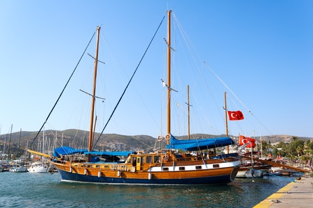 Moored yacht, Bodrum, Turkey photo