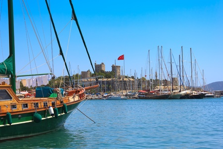 marina: Bodrum castle and sailing boats, Turkey