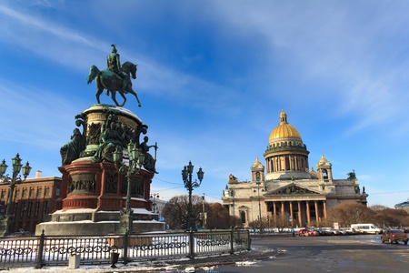 Nicholas I monument and St  Isaac s Cathedral in St Petersburg   w  400, h  267  Nicholas I monument and St  Isaac s Cathedral in St Petersburg, Russia Stock Photo - 12844783