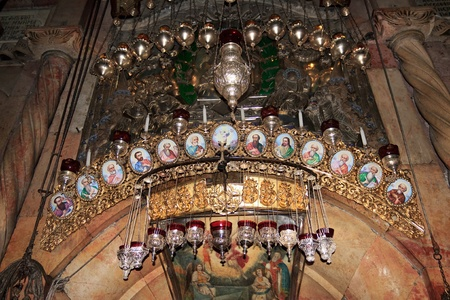 The icons above the entrance to the tomb of Jesus Christ  Church of the Holy Sepulchre, Jerusalem