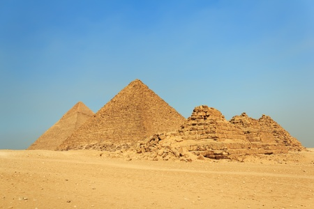 Three pyramids of the queens, pyramid of Menkaure and pyramid of Khafre  Chephren  , Giza, Egypt  Stock Photo - 13160319