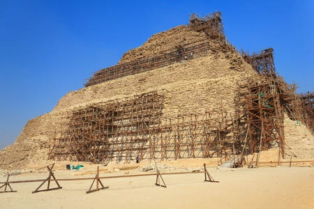 Restoration of the pyramid of Djoser, Saqqara, Egypt photo