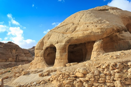 Stone cave home in Bab as-Siq, Petra, Jordan  photo
