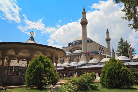 mausoleum: The Mevlana museum, located in Konya, Turkey, is the mausoleum of Jalal ad-Din Muhammad Rumi Stock Photo