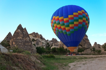The balloon at the start in Cappadocia, Turkey photo