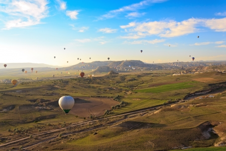 Hot air balloon flying over Cappadocia, Turkey Stock Photo - 14462995