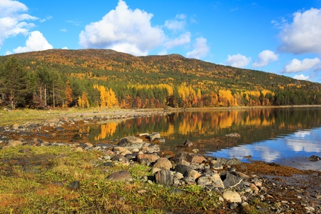 Coast of the White Sea, autumn, Russia Stock Photo