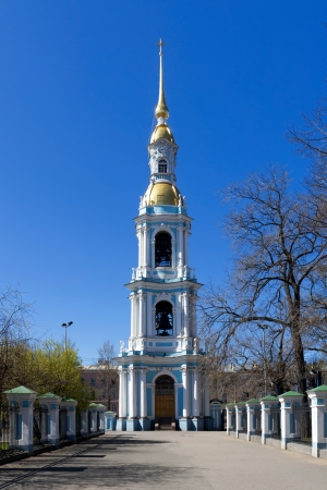 st nicholas cathedral: Bell tower in St  Nicholas Naval Cathedral, St Petersburg, Russia
