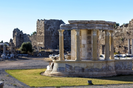 Temple of the goddess of chance Tyche, Side, Turkey photo