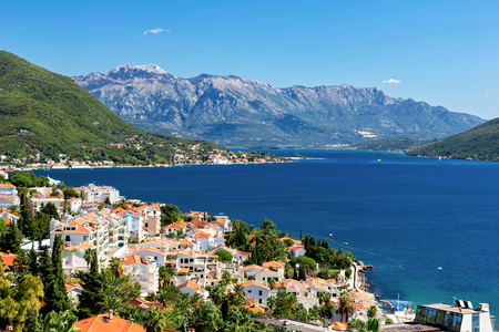 View of the Boka Kotorska Bay of Herceg Novi, Montenegro photo