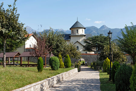 Moraca Monastery is one of the best known medieval monuments of Montenegro Stock Photo