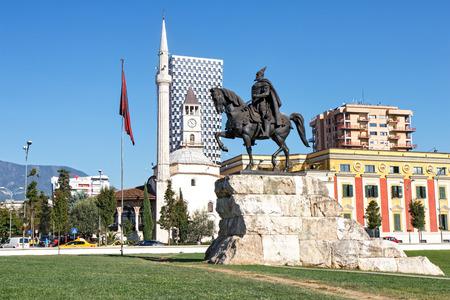 national hero: Skanderbeg Monument - the national hero of Albania, Tirana