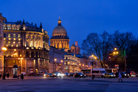 saint petersburg: Evening illumination of Saint Petersburg, Russia