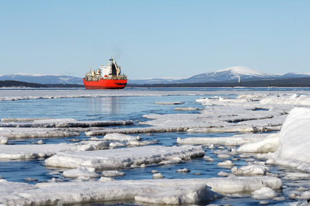 Sea ice is destroyed in the spring, White sea, Russia Stock Photo