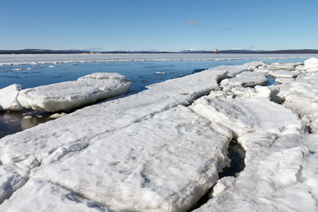 crevasse: Sea ice is destroyed in the spring, White sea, Russia Stock Photo