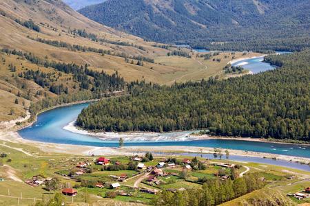 katun: The rivers Katun and Kucherla near the village of Tungur, Altai, Russia Stock Photo