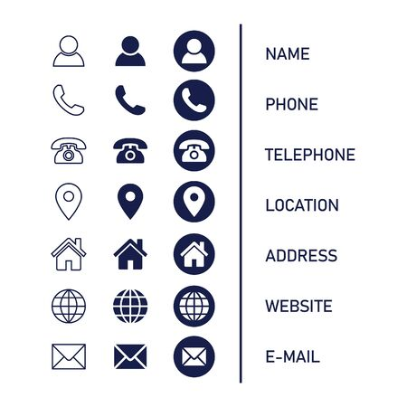 Contact information Icon in Vector Format , all are 21 icons Vecteurs