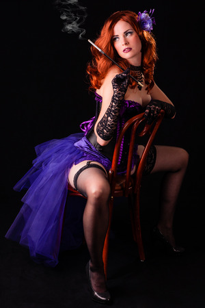 Smoking hot redhead Burlesque flapper showgirl dancer photo